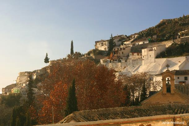 Le Sacromonte vue de la rue des Cuevas de Flamenco