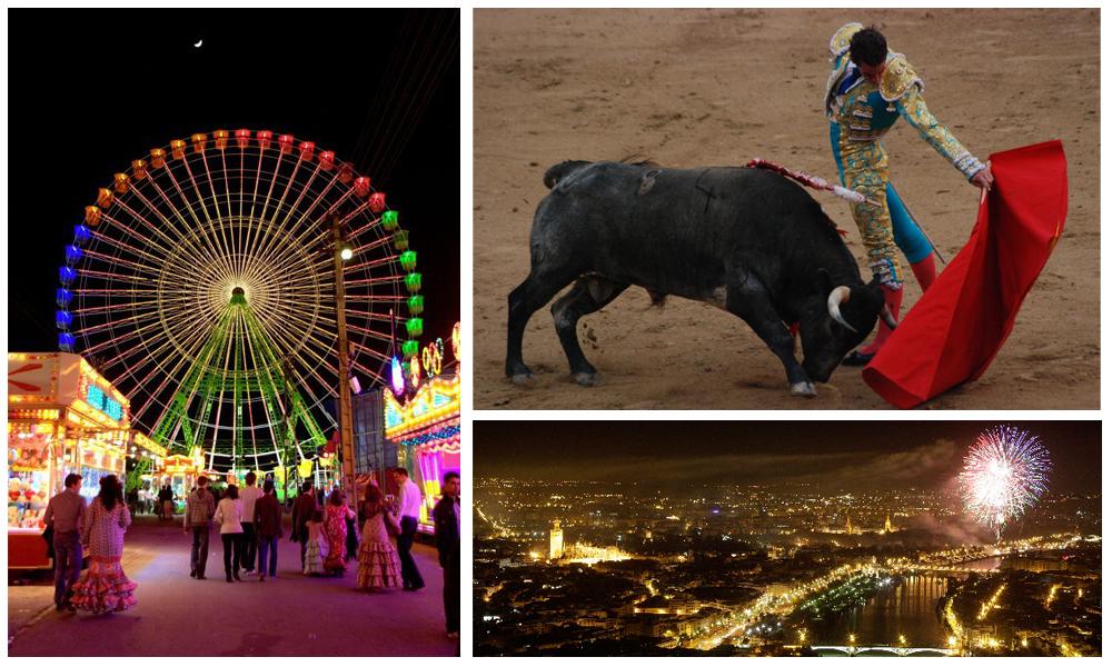 La Calle del Infierno, la corrida et le dimanche avec un splendide feu d'artifice - Séville - Andalousie